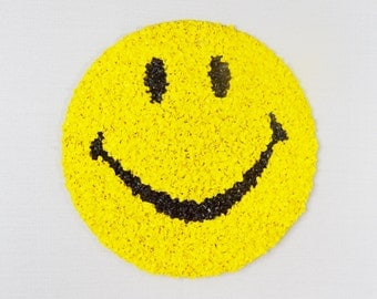 Smiley Face Vintage Plastic Popcorn Wall Decoration Yellow Black Happy Face Melted Fused 1970's