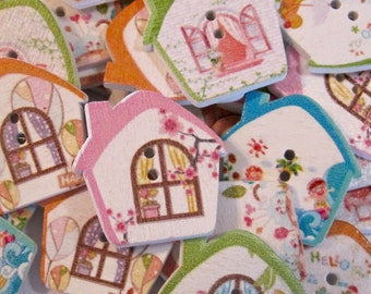 Mixed Cottage House Wood Buttons Lot of 10