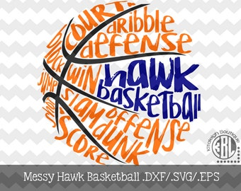 Messy Hawk Basketball Files INSTANT DOWNLOAD in dxf/svg/eps for use with programs such as Silhouette Studio and Cricut Design Space