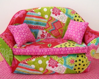 Barbie Furniture - Pink Patchwork Living Room Sofa w Pink Print Trim and Pillows - FREE Shipping to anywhere in the USA