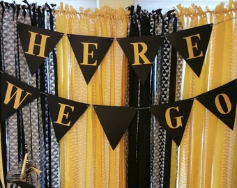 Pittsburgh Steelers Banner, Steelers Banner, Here We Go banner, Here We Go Steelers, Pittsburgh Steelers, Steelers Decorations