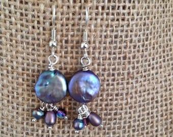 Purple coin pearl dangle earrings