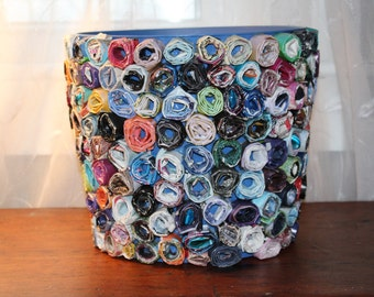 Colorful Basket Made Of Recycled Magazine Coils