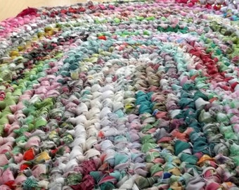 Spring Colors Crocheted Rag Rug Pink and Green