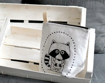 Printed diaper bag with cotton strap RACCOON Diaper clutch Diaper pouch Diaper wallet Black white Scandinavian style For baby boy