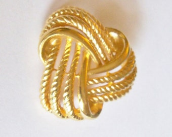 Brooch Signed Napier Gold Tone Interlocking Swirls Abstract Mid Century Vintage Jewelry Jewellery Gift for Her Birthday