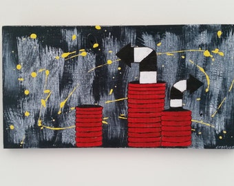 Outsider Art Mixed Media on Wood