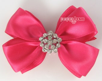 "Special Occasion hair bow - bright pink hair bow 2.5"" 2-3 inch hair bow - rhinestone hair bow, satin hair bow, dark pink hairbow, non slip"