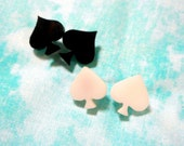 White or Black ACE of SPADE Stud Acrylic Earrings with Hypoallergenic Earring Posts