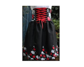 gothic lolita jumper skirt. boned high waist, shirred back, skulls and roses print, corset lacing