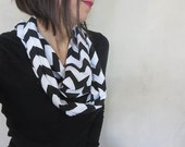 infinity scarf in jersey chevron black and white. Fashion accessory. trending must have style