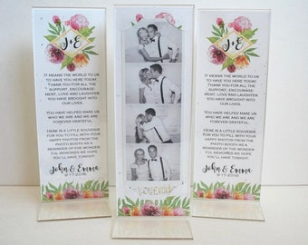 Vintage Wedding Photo Booth Acrylic Frames Party Favor Watercolor Bouquet