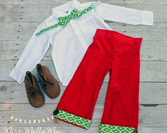 Boys Christmas Henry Trousers with Matching Bow Tie Size 2T