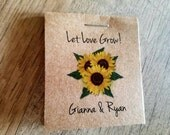 Personalized Sunflowers MINI Seeds Let Love Grow Flower Seed Packet Favors Shabby Chic Rustic Cute Little Favors