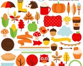 Autumn Days Clipart Set - digital elements - fall, autumn, leaves, borders, banners - personal use, small commercial use, instant download