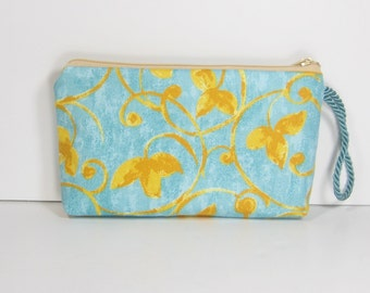 Teal and Sunshine on Wallet Wristlet Cosmetic Pouch