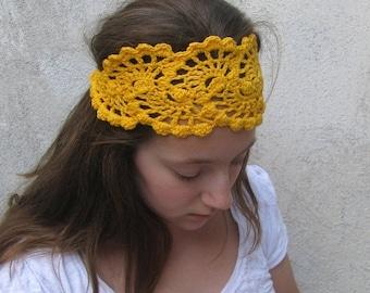 ON SALE 15% SALE Crochet HeadBand - Hair  Accessories - HandCrochet Bandana / Headband