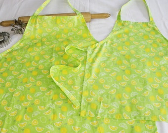 Lemons on Neon Green Mother Daughter Aprons - scented