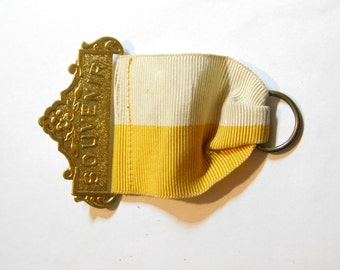 Early 1900's Antique Yellow and White Souvenir Medal Badge Finding for Repurposing