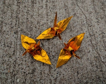 "100 3"" gold foil origami cranes paper cranes wedding party decoration"