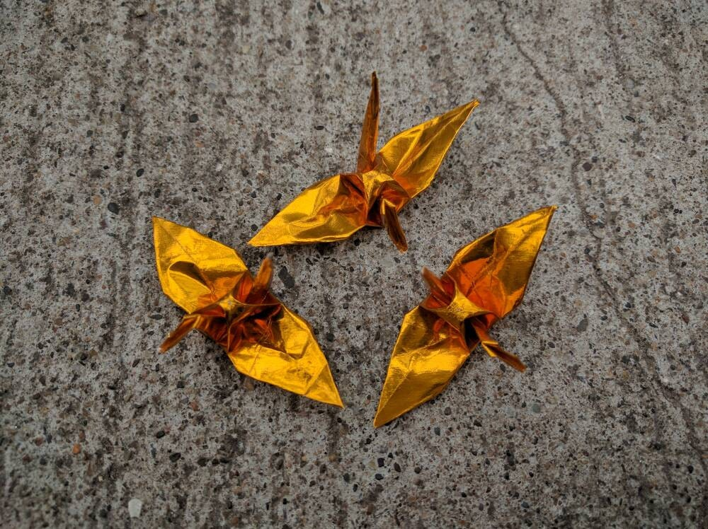 100 3 gold foil origami cranes paper cranes wedding for 1000 paper cranes wedding decoration