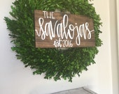 Last name sign, wood name sign, family sign, wood name sign, wedding gift, established wood sign, rustic name sign, farmhouse decor