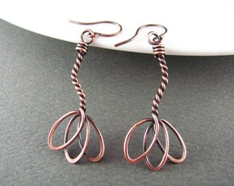 Wire Wrapped Earrings Lotus Flower Earrings Copper Earrings Wire Wrapped Jewelry Copper Wire Earrings