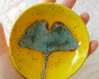 Leaf dish, small bowl, ring dish, spoonrest, coaster, ring bowl, jewelry dish, Ginkgo leaf, teal, ceramic bowl, small bowl, pottery ceramics