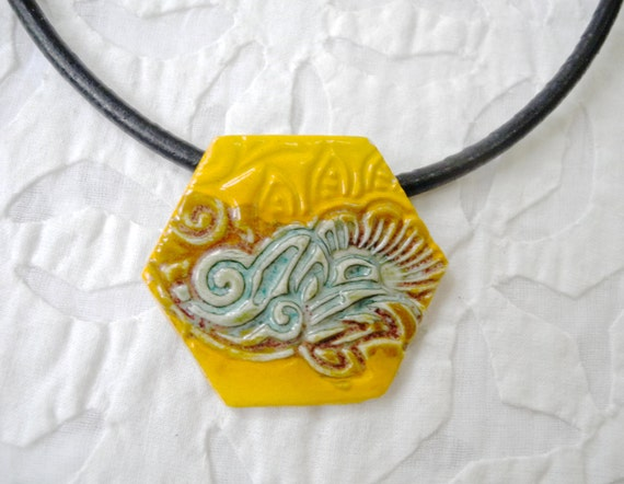 Hexagon pendant, Yellow and teal lace Necklace, porcelain pendant, pottery pendant, bridesmaid gift, stamped ceramic pendant, burnt umber
