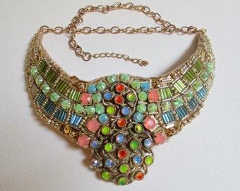 Statement Bib Necklace Gold Coral Blue Green Beaded Vintage Elements