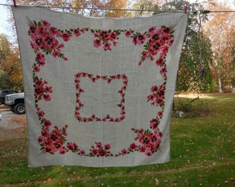 Vintage 1950s to 1970s Pink and Red Pansy Flowers Lined Tablecloth Small Square Card Table Size