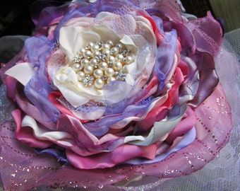 Bridal bouquet, Large purple pink flower bouquet, fabric flower Wedding bouquet, Wedding cake topper, Table decoration, Bridal accessory