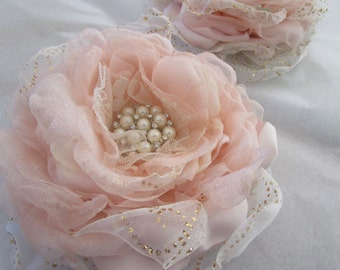 Blush fabric flower, Blush and Gold organza flower, Bridal or Bridesmaids hair flower, wedding flower, Pink and champagne cake topper
