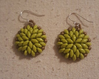 Chartreuse Green and Brown Beaded Earrings