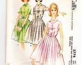 McCalls 5774 Vintage Size 16 Bust 36 Shirtwaist Dress With Full Pleated Skirt