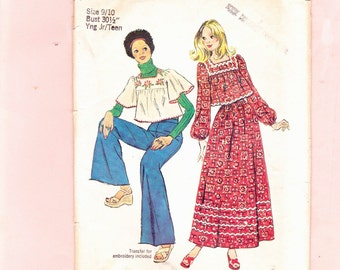 Simplicity 6037 Hippie Peasant Maxi Skirt and Short Top Cute Size 9/10 Bust 30.5