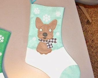 Gray French Bulldog Dog Personalized Christmas Stocking by Allenbrite Studio