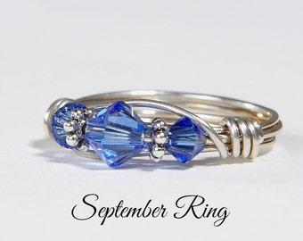September Birthstone Ring: Handmade Sterling Silver September Birthstone Ring made with Sapphire Swarovski Crystals. Birthday gift for her