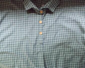 Mens 3XL Civil War Blue and Green Plaid Homespun Cotton Issue Shirt in stock