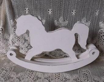 Wood Shelf rocking horse, Shabby Cottage nursery, shabby white