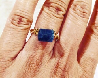 Teal Blue apatite gold Ring, Craft wire, Lilyb444 Jewelry,