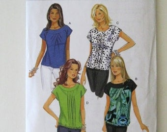 2000s Top Pattern Butterick B5610 Womens Pullover Blouse Tunic Sewing Pattern Pleats Yoke Extended Shoulders Misses Size 20-22 Bust 42-44