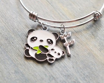 panda bracelet, panda bear jewelry, panda bangle, new mom gift, new parent gift, christmas, mom to be, baby shower, animal lover, fashion