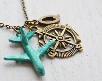 personalized necklace,airplane necklace,aviation,flight attendant,travel,direction necklace,bon voyage,christmas,plane,aircraft,graduation