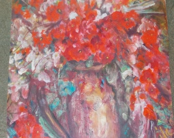 Red floral print from sold painting by artist Davila, 9.5x14.5