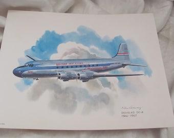 Vintage United Airlines Print Poster - Douglas DC-4 Mainliner 1946-1957 - Galloway
