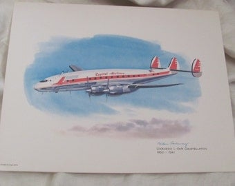 Vintage United Airlines Print Poster - Lockheed L-049 Constellation  1950 - 1961 - Galloway
