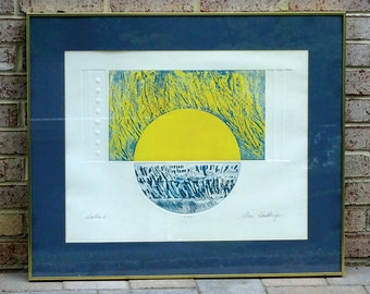 Mid Century Modern Embossed Limited Edition (2/45) Serigraph titled Heartland - Signed Stan Hershberger