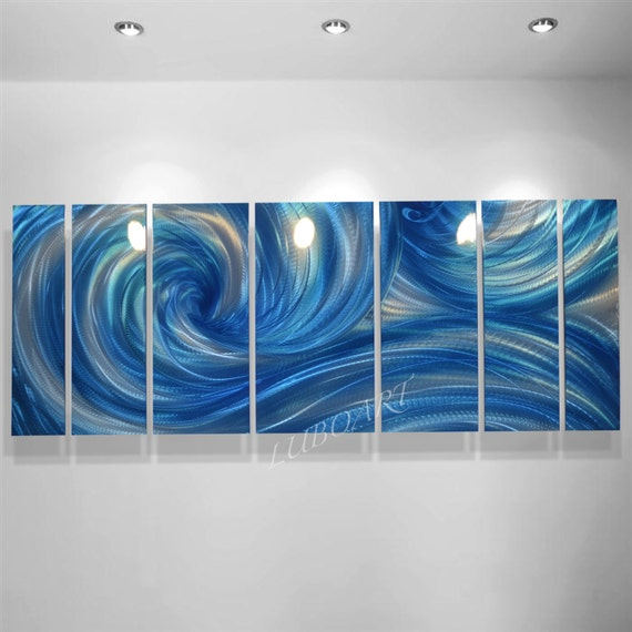 METAL art blue painting sculpture 3D effect ice ocean wave modern dance abstract shiny elegant wall decor Original hand made - Lubo Naydenov