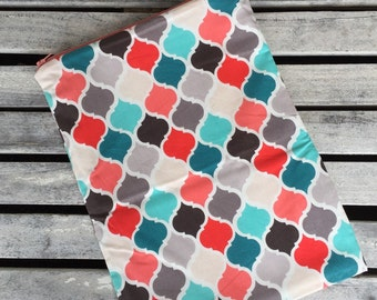 """Travel wet bag 10""""x13"""" Teal and Coral Geometric- optional strap available"""